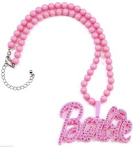 Iced Out New Plastic Pendant Barbie Style Beaded Necklace 18.75 & 19 Inches - $17.94+