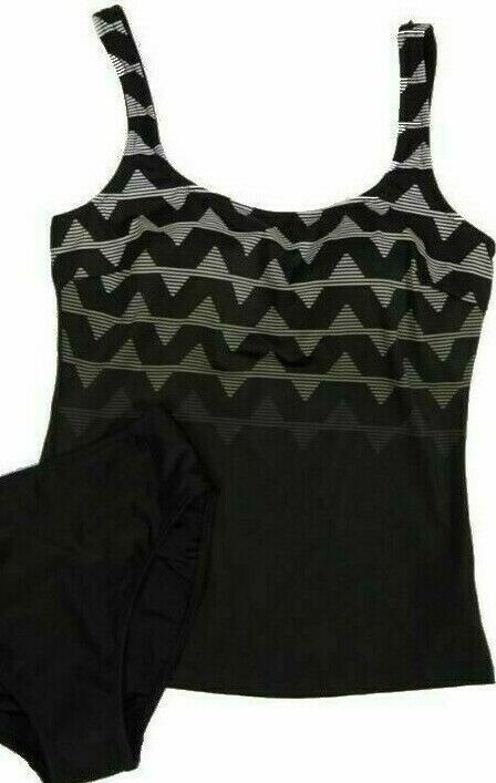 Gottex Blue Women's 2 piece Tankini Swimsuit Black Gray Sz 6