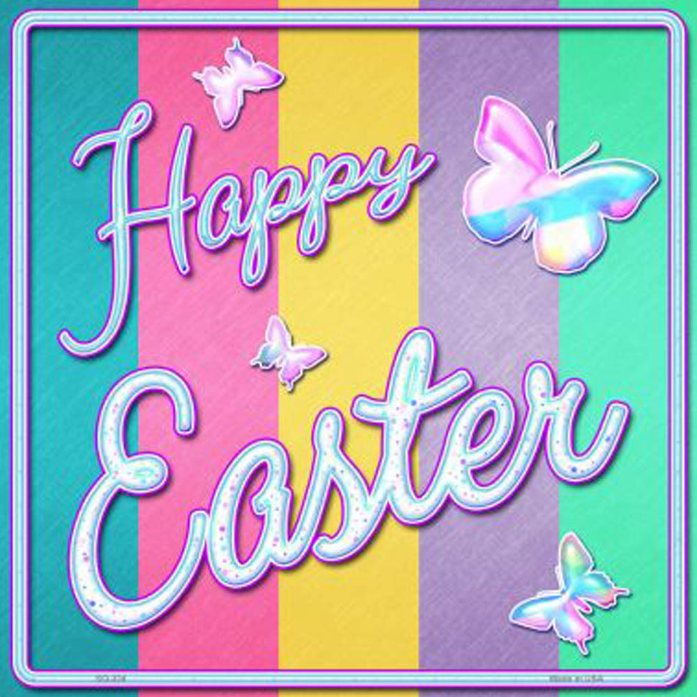 Happy Easter with Butterflies Novelty Square Sign SQ-324 - $21.99