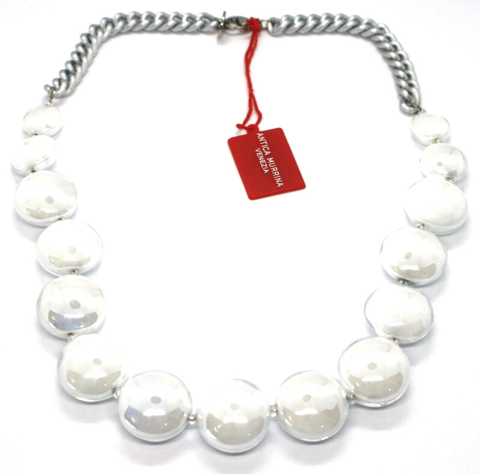 Necklace Antique Murrina, CO833A02, Chain Groumette, Discs, White Pearl