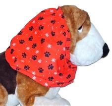 Christmas Paw Prints Snowflakes Red Black White Cotton Dog Snood Sz Pupp... - $9.50