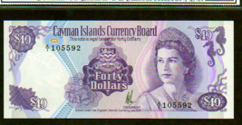 "CAYMAN ISLANDS P9a $40 1974 ""SEA HORSE"" QUEEN ELIZABETH II HIGH GRADE UNC! - $475.00"