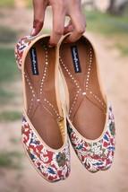 Women Punjabi Leather Kalamkari Footwear, Indian Ethnic Shoes, Punjabi Mojari - £30.73 GBP