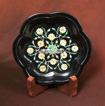 5'' Black Marble Marquetry Plate Marquetry Floral Inlay Pietradura Gifts Decor - $303.55