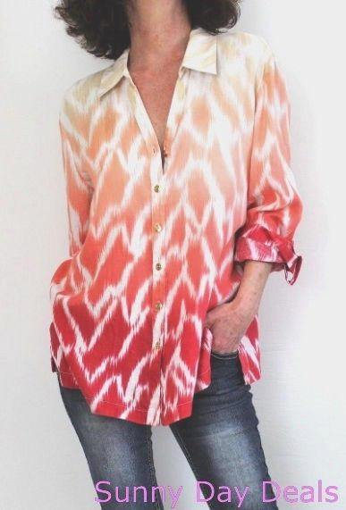 JM Collection Womens Shirt Linen Collar Button Front 3/4 Sleeve Blouse Macys 6