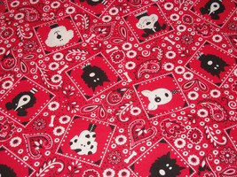 Red Bandana Dog Bones Fabric Hair Scrunchie Scrunchies by Sherry  - $6.99
