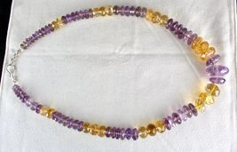 NATURAL CITRINE AMETHYST BEADS FACETED 1 LINE 875 CARATS GEMSTONE NECKLACE image 5
