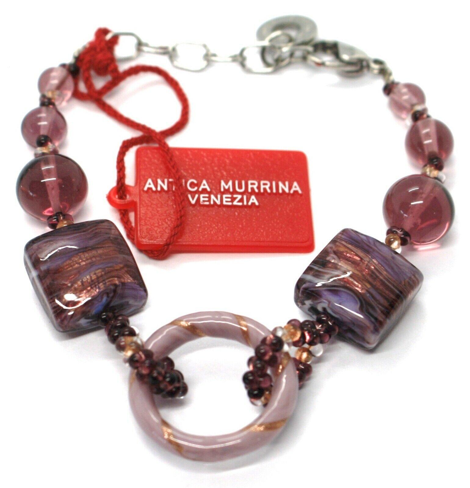 Bracelet Antica Murrina Venezia,BR567A05,Purple, Circle,Squares,Spheres