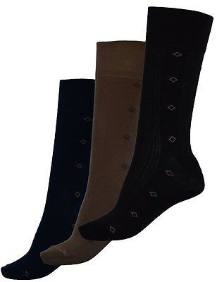 Pack of 3 : OCTAVE® Mens Light Elasticated Soft Top Cotton Socks - Small Diamond