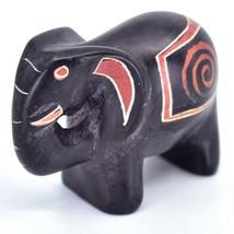 Crafts Caravan Hand Carved Black Brown Soapstone Elephant Figurine Made in Kenya image 2