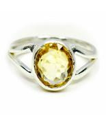 Natural Yellow Citrine Silver Ring Women Cut 6 Carat Size K,L,M,N,O,P,Q,... - $41.17