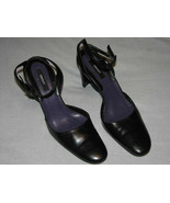 "9 M DKNY Black Leather Pumps Ankle Strap 3.75"" High Stocky Heels Dressy ... - $24.99"