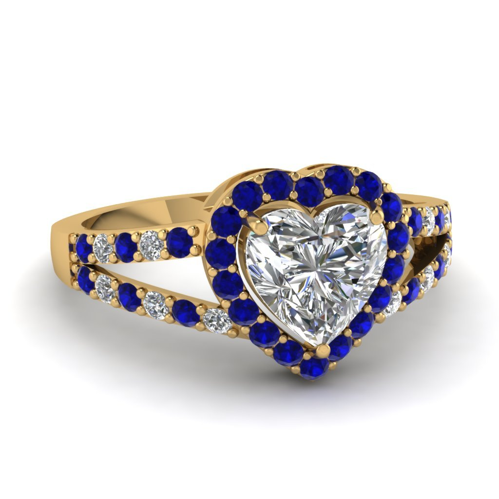 Primary image for Blue Sapphire & CZ Diamond 14K Yellow Gold FN Halo Heart  Ring