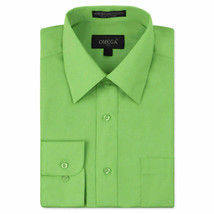 Omega Italy Men's Long Sleeve Solid Regular Fit Apple Green Dress Shirt - 4XL
