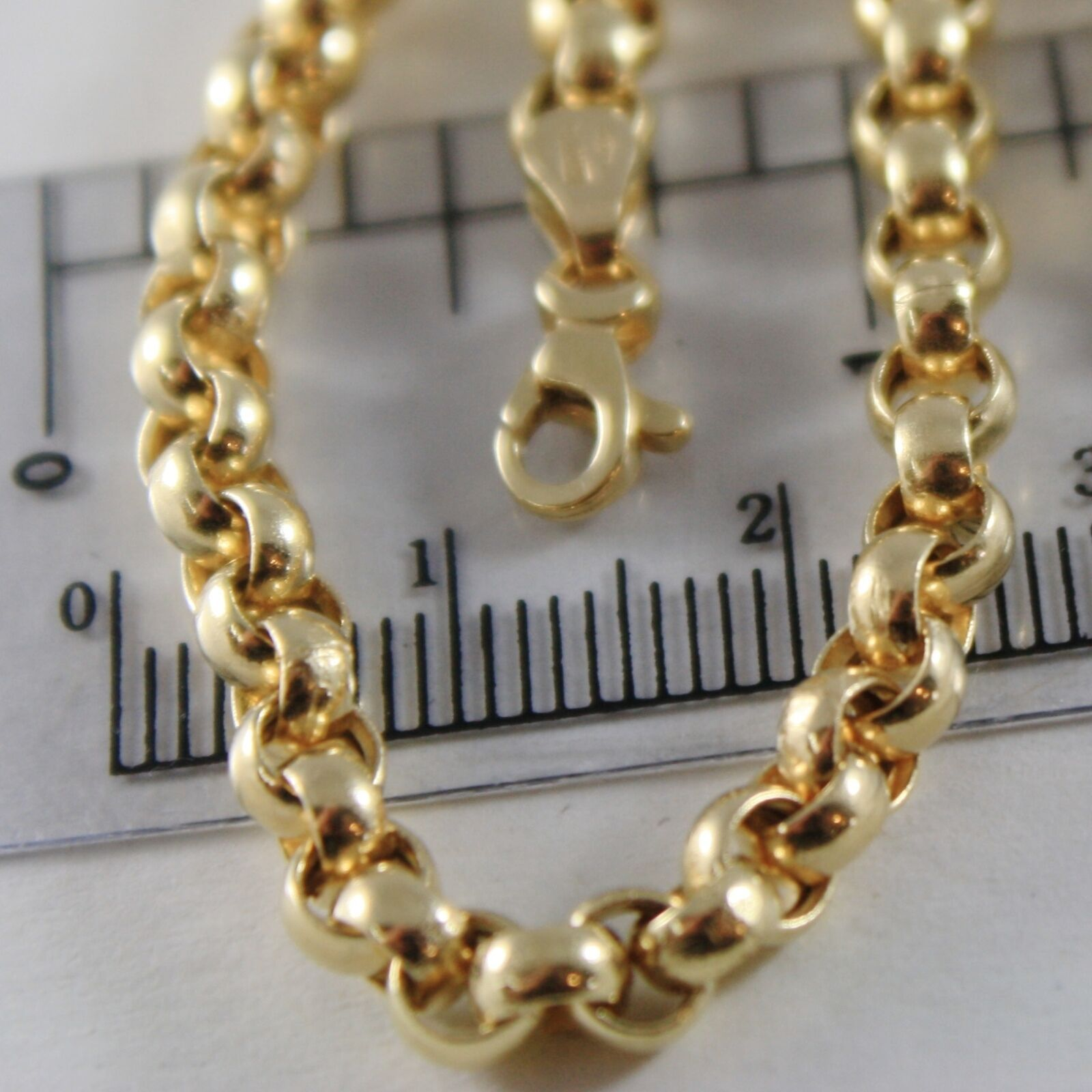 18K YELLOW GOLD BRACELET 7.5 IN, BIG ROUND CIRCLE ROLO LINK, 4 MM MADE IN ITALY image 2