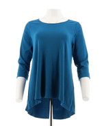 C Wonder Essentials Pima Cotton Scoop Neck 3/4 Slv Top Nordic Blue M NEW... - $23.74