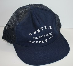 Vintage Trucker Hat Central Electric Supply Co Blue Mesh Snapback USA Made  - $19.34