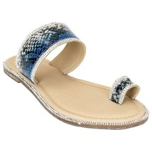 GC Shoes Women's Icy Sandal Blue Faux Snake 7.5 M New Rhinestone Trim - $29.02
