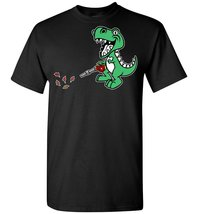 Smilealottees Funny T-rex Dinosaur using Leaf Blower T shirt - $19.99+