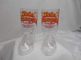 Old Vtg DIXIE STAMPEDE Cowboy Boot Souvenir GLASSES Glass Pigeon Forge T... - $19.79