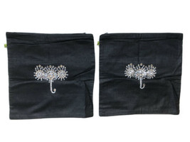 Home Centre pillow covers pair black cotton silk beaded square 11.75 - $19.79