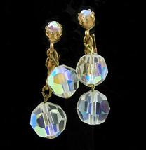 AURORA BOREALIS Glass Crystal Beads EARRINGS Clip On Vintage Dangle Gold... - $12.99