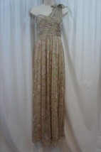 Adrianna Papell Dress Sz 8 Champagne One Shoulder Floral Print Chiffon F... - $114.35