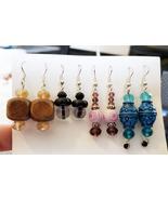 4 pairs of handmade big bead drop dangle earrings plastic wood glass bea... - $7.99