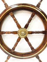 "30"" Nautical Marine Wood Steering Ship Wheel Home Wall Decor ~ Brass Ring - $63.86"