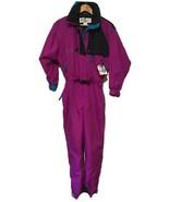 Vintage 90s Columbia Snowsuit Purple Magenta Neon Sz Med Hood One Piece ... - $87.11