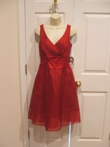 NWT 100% SILK Nine West Red Surplice Neck party ocassion  Dress size 8 - $73.51