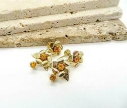 Vintage Signed Coro Amber Orange Rhinestone Gold Flower Screw Back Earri... - $15.99