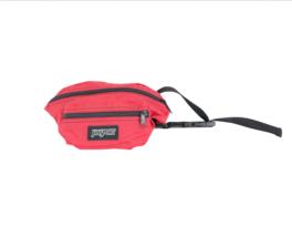 Vintage 90s JanSport Box Logo Spell Out Nylon Waist Bag Fanny Pack Bag Red - $39.55