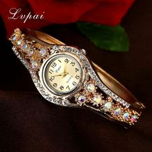 Lvpai® Luxury Watch Women Gold Flower Casual Quartz Crystal Dress Vintage Wrist image 3