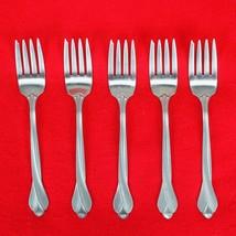 "5X Salad / Dessert Forks Oneida Tribeca Stainless Glossy Flatware 6 5/8""... - $37.62"