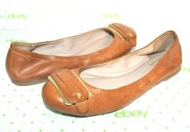 ❤️FRANCO SARTO Elegance Buckle Whiskey Leather Ballet Flat 6 M EXCELLENT... - $23.74