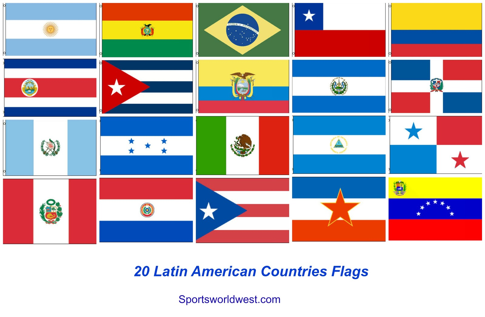 20 Latin American Countries Flags Ship FREE