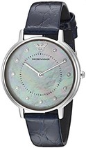 Emporio Armani AR11095 Silver Crystal Dial Blue Strap Ladies Watch - $165.59 CAD