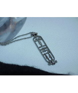 Antique Art Deco 925 Sterling Silver Egyptian Hieroglyphs Pendant Charm Necklace - $24.74