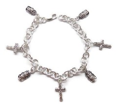 """""""FAITH IN JESUS"""" CHARM BRACELET ALL CHARMS HANDMADE .925 STERLING SILVER - $199.00"""