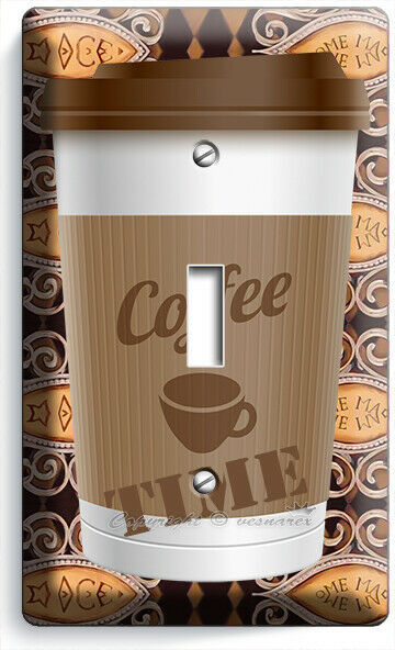 COFFEE TIME PAPER CUP LIGHT SWITCH OUTLET PLATE ROOM KITCHEN CAFE SHOP ART DECOR image 2