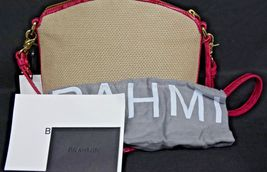 NWT Brahmin Mini Duxbury Shoulder Bag in Punch Harbor, Pink Leather/Beige Fabric image 8