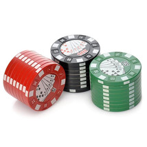 42mm 3 Piece Poker Chip Style Tobacco Herb Grinder Metal Spice Crusher Z... - $12.70