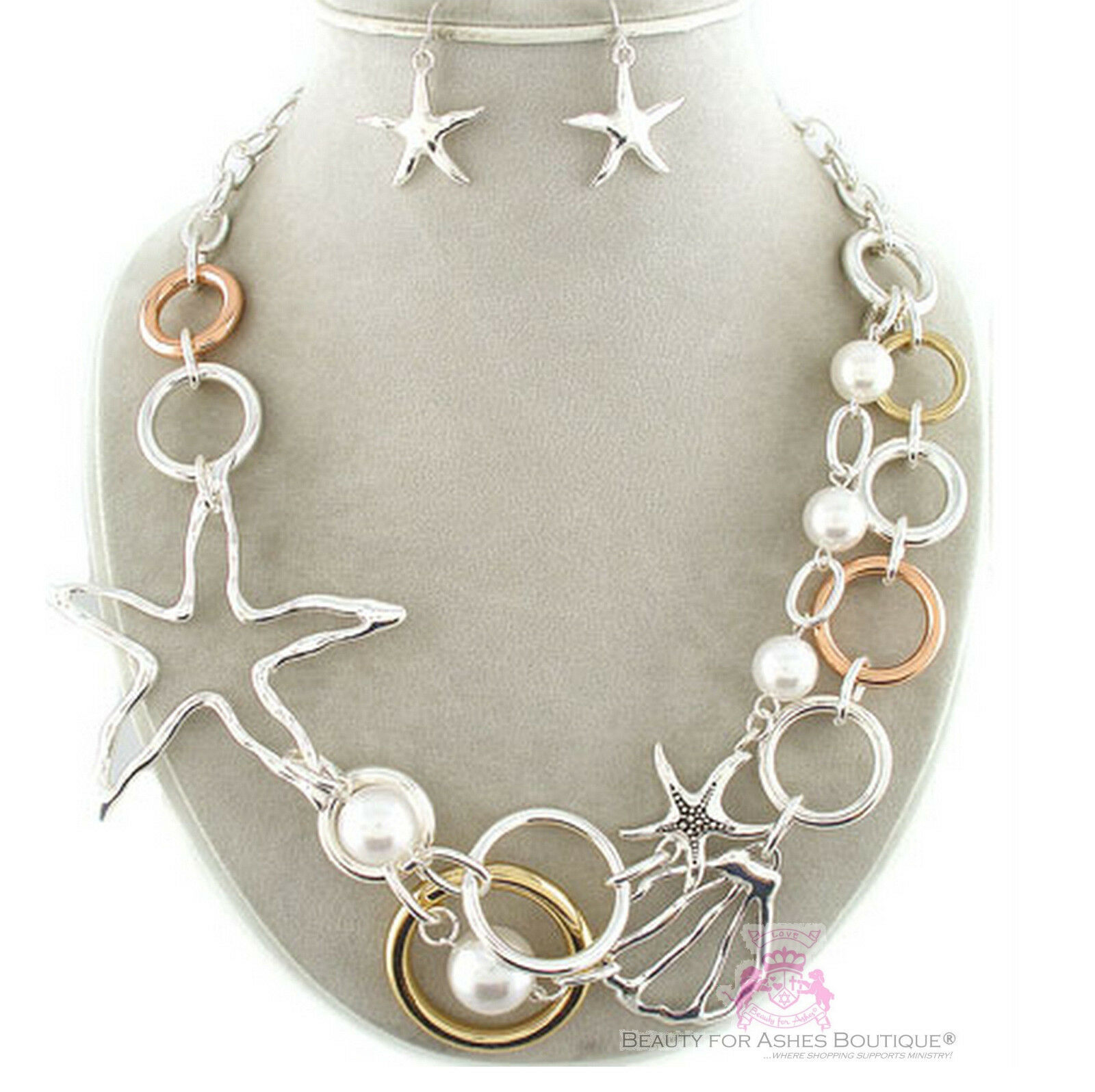 Nautical Vacation Beach Star Resort Starfish Pearl Layered Chunky Necklace Set - $29.95
