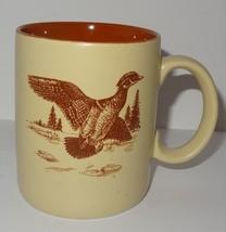 Wood Duck Coffee Mug 11 oz Cup Enesco Brown Tan Hunting Outdoors 1985 Pond - $26.30