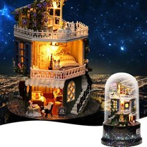 ROTATABLE DIY Doll House in glass Dome Ball Wooden Miniature Kit CHRISTM... - $39.95