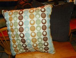 Pair of Brown Blue Circle Print Pillows  17 x 17 - $59.95