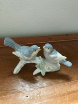Estate Small Gray & White Porcelain Birds on Tree Branch Figurine-  3 in... - $10.39