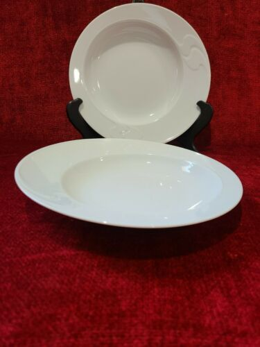 Primary image for Rosenthal Asymmetria White Set of 2 Rimmed Soup Bowls 9""