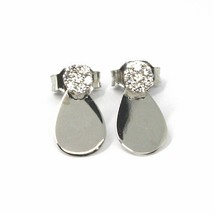 White Gold Earrings 750 18k charms, with Flower Zirconia and Drop Gloss image 2